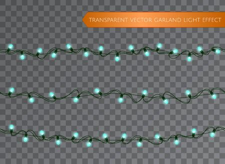 Blue garland set, Christmas decoration lights effects. Isolated transparent vector design elements. Glowing lights for Xmas Holiday greeting card design. Christmas realistic luminous garland