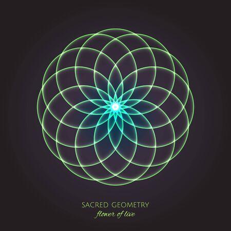 Green flower of Life. Sacred Geometry. Symbol of Harmony and Balance. Vector Illustration
