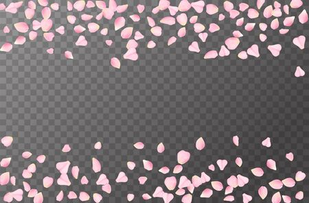 Abstract romantic background with flying Pink rose, cherry or sakura petals petals isolated on a transparent background. Flying pink petals mock up. Vector illustration. Ilustracja