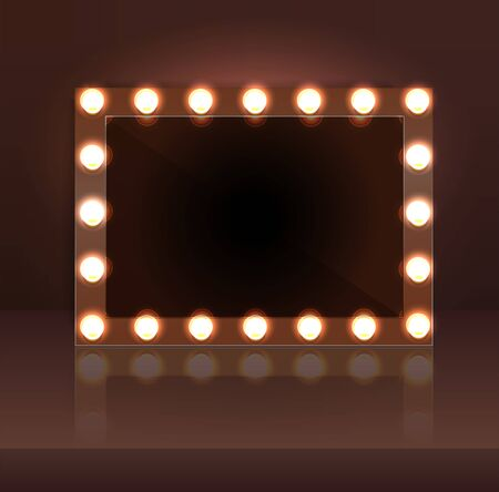 Luxury dark makeup blank mirror realistic with bulb light effect in wall background. vector illustration. Vettoriali