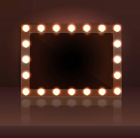 Luxury dark makeup blank mirror realistic with bulb light effect in wall background. vector illustration. Vektorgrafik