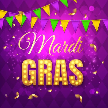 Vector typographical illustration of Mardi Gras beauty purple background with rhombus texture and multicolored festive flags, confetti. Celebration greeting card