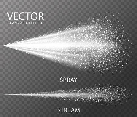 Plantilla de niebla blanca de spray de agua para el efecto, aislado sobre fondo transparente oscuro. Ilustración de vector 3d realista