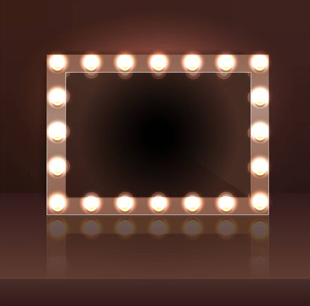 Luxury brown makeup blank mirror realistic with bulb light effect in wall background. vector illustration. Vettoriali