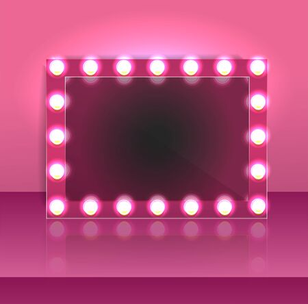 Glamour pink makeup blank mirror realistic with bulb light effect in wall background. vector illustration. Vettoriali