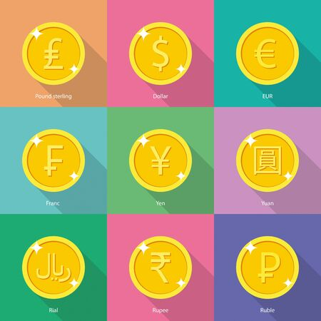 World currency icons: dollar, euro, yen, yuan, euro, indian rupee, russian ruble, franc, pound sterling, rial, rupee, russian ruble - stock vector