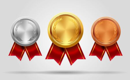 Realistic vector set of empty shining gold, silver and bronze medals and ribbon. Premium badges. Winner sport awards. Achievement icons. Vector illustration. EPS 10. Vectores