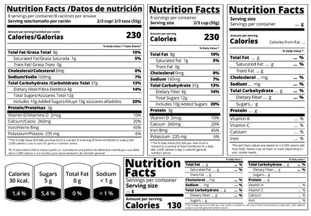 Vector Nutrition Facts food table Label design template. Serving size , fats and calories list for fitness healthy dietary, protein sport nutrition facts. Mock up table label for food package design.