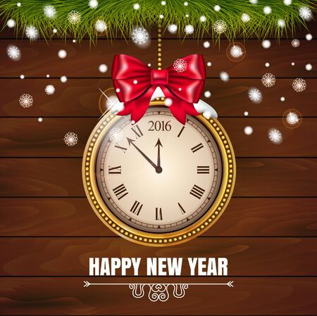 Illustration New Year Midnight 2016 Glowing Background with Clock on the wood background. Vector illustration. Banque d'images - 149589957