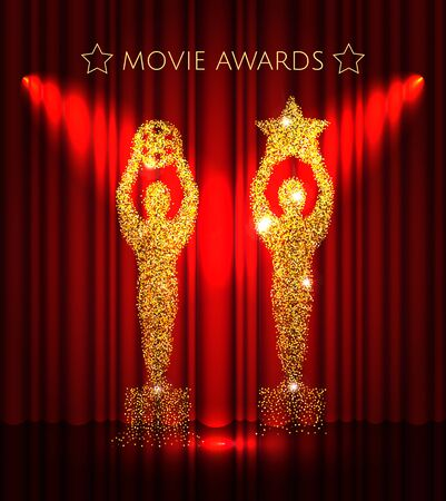 Cinema gold glitter awards set with stars on the red curtain background.