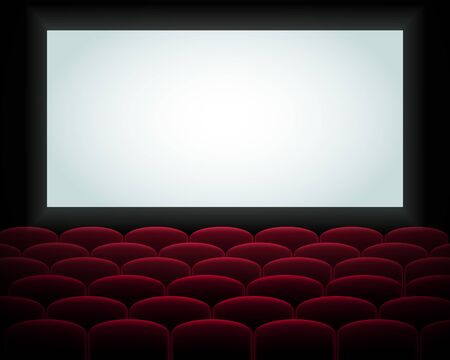 Interior of a cinema movie theatre, lecture hall with copyspace on the screen and rows of red cinema or theater seats in front. Empty Cinema auditorium with white screen. Vector illustration. EPS 10
