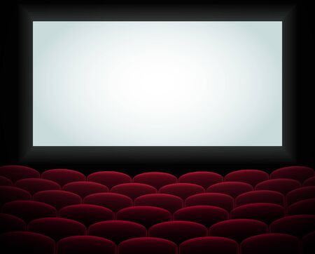 Interior of a cinema movie theatre, lecture hall with copyspace on the screen and rows of blue cinema or theater seats in front. Empty Cinema auditorium with white screen. Vector illustration