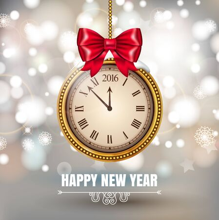 Illustration New Year Midnight 2016 Glowing Background with christmas ball Clock. Vector illustration Banque d'images - 149593839