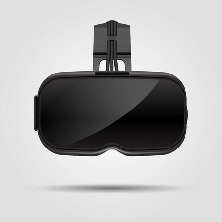 Realistic VR virtual reality glasses isolated on white background. VR gaming headset illustration for apps, ads and websites. Vector illustration