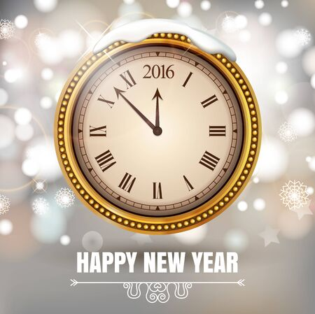 Illustration New Year Midnight 2016 Glowing Background with Clock. Vector illustration. Banque d'images - 149594235