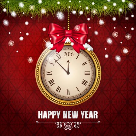 Illustration New Year Midnight 2016 Glowing Background with Clock on the red classic background. Vector illustration.