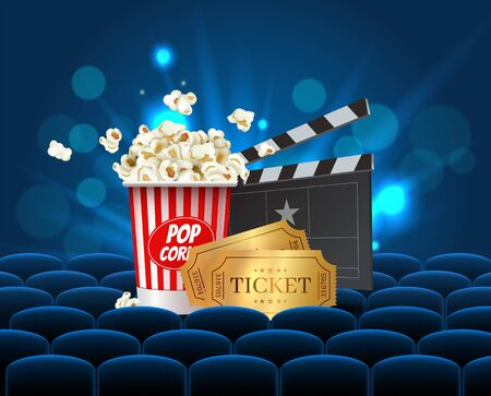 Cyan Cinema Movie Design Poster design. Vector template banner for movie premiere or show with seats, popcorn box, clapperboard and gold tickets.