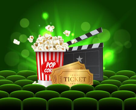 Green Cinema Movie Design Poster design. Vector template banner for movie premiere or show with seats, popcorn box, clapperboard and gold tickets.