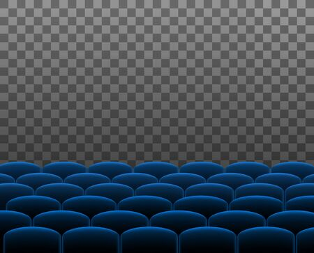 Rows of cyan cinema theater or auditorium seats in front of transparent background. Vector