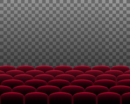 Rows of red cinema theater or auditorium seats in front of transparent background. Vector.