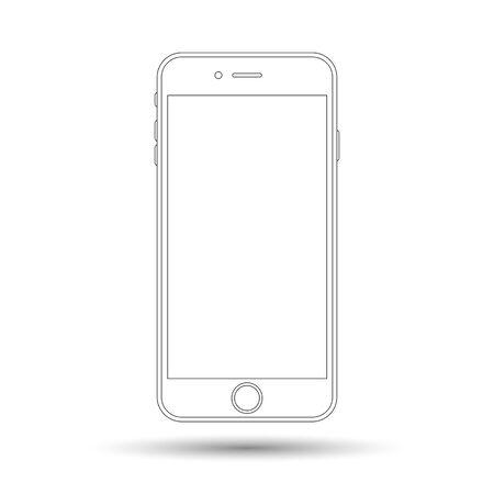 smartphone line icon , vector illustration of cellphone