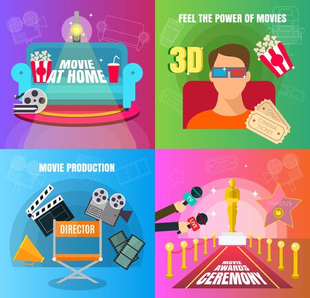 Cinema 4 flat design concepts set of movie adn cinema productuon watching and awards ceremony with director viewers, oscar figurine, 3D movie, and watch at home vector illustration Stock Illustratie