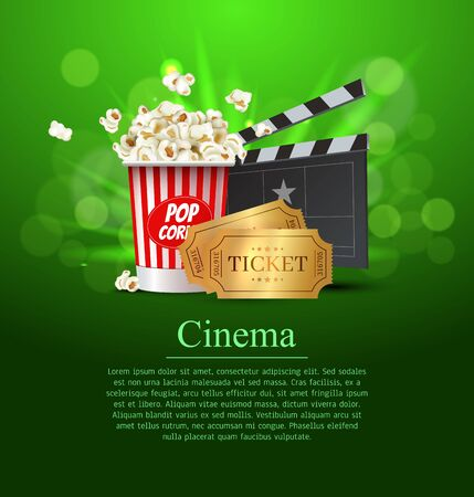 Green Cinema Movie Design Poster design. Vector template banner for movie premiere or show with seats, popcorn box, clapperboard and gold tickets