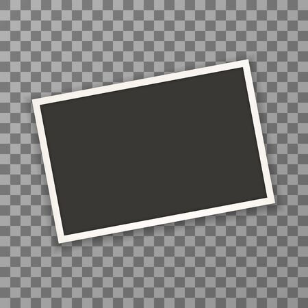 Old horizontal photo frame with shadow on transparent background. Vector illustration