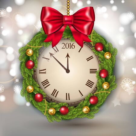 Vector New Year Concept with Clock with garland and Christmas ball. Vectores