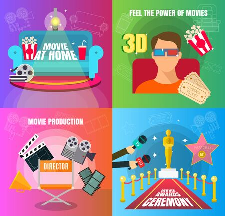 Cinema 4 flat design concepts set of movie adn cinema productuon watching and awards ceremony with director viewers, oscar figurine, 3D movie, and watch at home vector illustration. Stock Illustratie