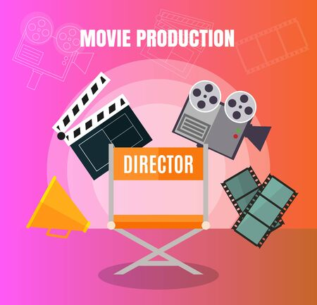 Cinema and film making, movie production stuff set design concept with director viewers and film stripe vector illustration.