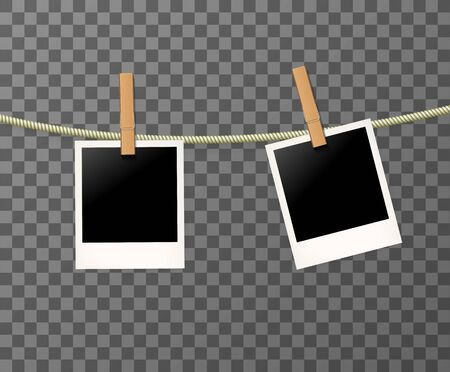 Photo frames on the rope on the transparent background - vector illustration. Blank photos on the clothespin. Ilustração Vetorial