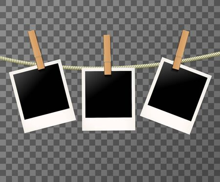 Blank Vintage Retro photo frames on the rope or clothespin on the transparent background - vector illustration.