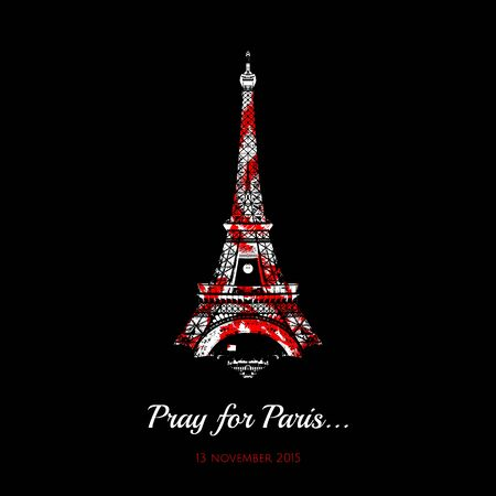 Vector Eiffel Tower, symbol de France with red spots. Tribute to the victims of the attack in Paris 13 November 2015 terrorist attack in Paris 스톡 콘텐츠 - 149976838