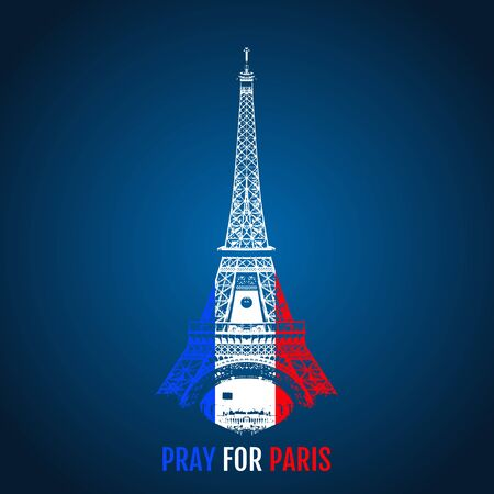 Vector Eiffel Tower, symbol de France with flag France. Tribute to the victims of the attack in Paris 13 November 2015 terrorist attack in Paris Vectores