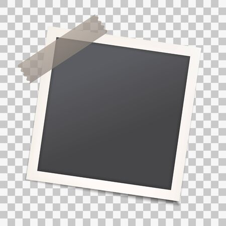 Realistic photo frame with shadow on transparent isolated background, Empty photography snapshot template with adhesive tape. Mock up for vintage stylish photos or images, EPS10.