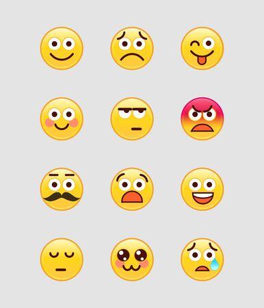 Ensemble d'Emoji mobiles jaunes. Illustration vectorielle.