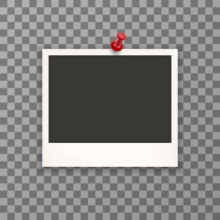 Blank old photo with pin needle on transparent background. Photo retro frames on wall attached with pins. Vector illustration.