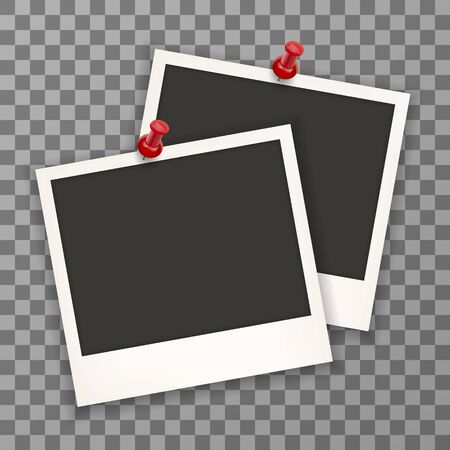 Photo framewith pin retro Illustration isolated on a background. Old retro photo frame mock up on a plaid background . Stock vector. EPS 10. Stock Illustratie