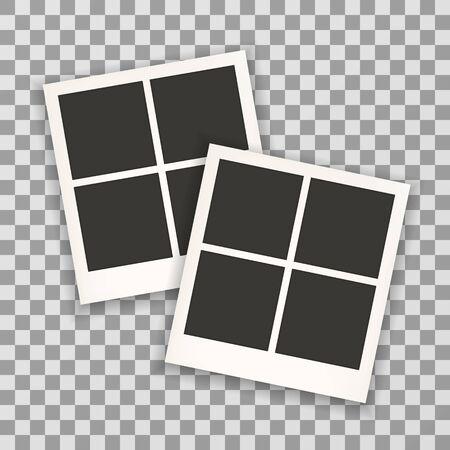 Two photo frame retro . Photo frame isolated on a background. Photo frame mock up. Photo frame border. Photo frame on plaid background. Photo frame retro. Photo frame - stock vector. Illustration