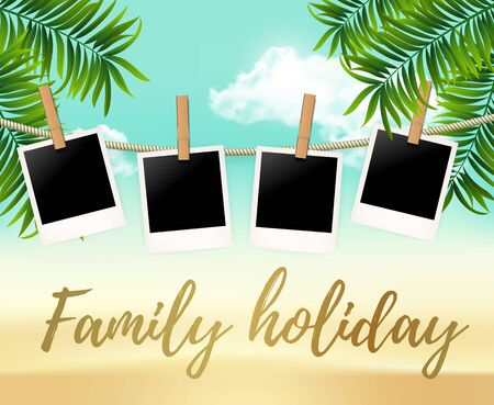 Summer four photo frames on the rope with summer sea and beach vacation - vector illustration. Blank photos on the clothespin with palm trees. Summer Hot background for your photo Ilustracja