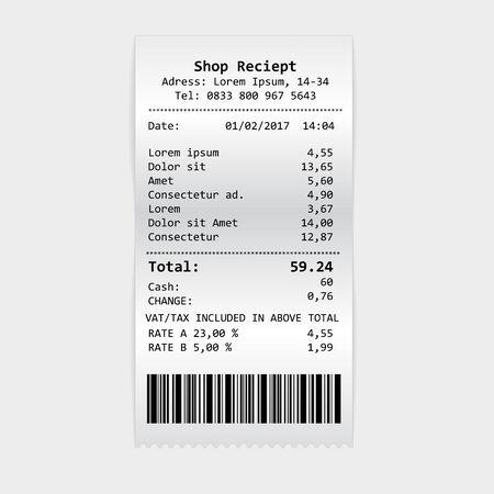 Cheque de impresión de papel de vector, recibo de tienda o factura aislada sobre fondo blanco. Cheque de cajero automático realista vector con ilustración de iva de impuestos