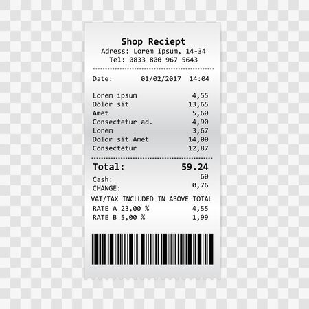 Vector paper print check, shop reciept or bill isolated on transparent background. Vector realistic atm check with tax vat illustration