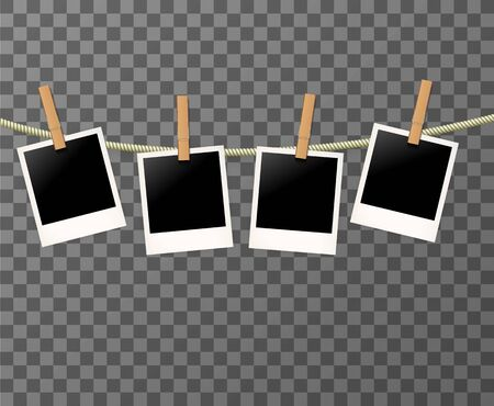 Set of Photo frames on the rope on the transparent background - vector illustration. Blank photos on the clothespin. Vecteurs