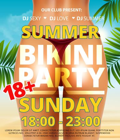 Summer beach bikini or pool party flyer with pretty realistic young woman bottom and back in bikini on beach in summer with palm leaf. Adult holiday vacation party 18 Vector illustration