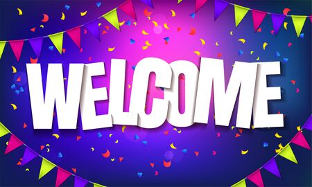 Purple welcome sign over confetti and garland background. Vector holiday illustration. 写真素材 - 149641535