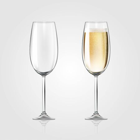 Vector realistic full and empty glasses of champagne, beautiful shining glass isolated on white background with sparkly champagne.