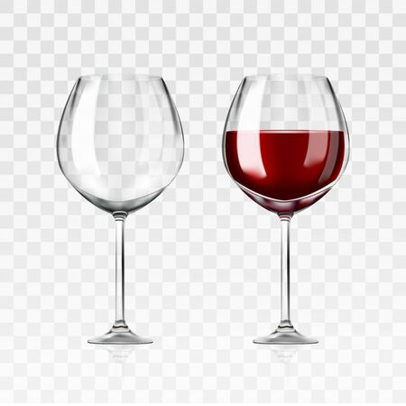 Vector realistic full and empty glasses of red wine beautiful shining glass isolated on transparent background with red grape drink. EPS 10. Illustration