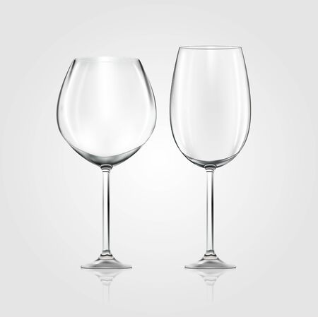 Vector realistic empty Wine Glasses isolated on white background. Vector illustration of 2 Wine Glasses, widen and narrow