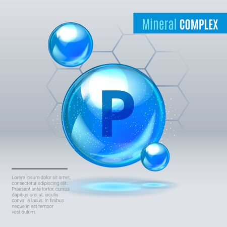Mineral P Phosphorus blue shining pill capsule icon . Mineral Vitamin complex with Chemical formula . Shining cyan substance drop. Meds for heath ads. Vector illustration.